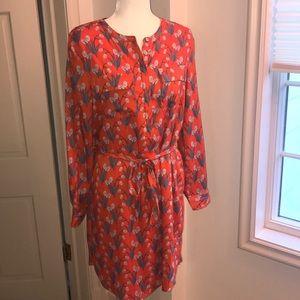 Loft Medium Long sleeve orange shirt dress